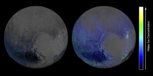 Hielo en Plutón (Click para agrandar la imagen)