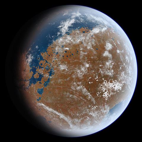 PLaneta Marte con agua