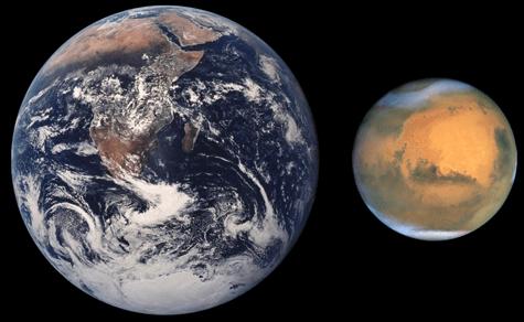 Tierra y Marte comparación de tamaños